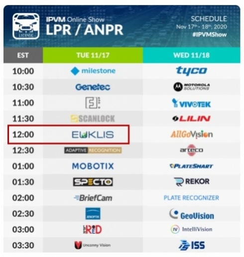 Euklis takes part at IPVM LPR/ANPR Online Show!